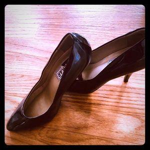 Black patent leather black heels